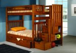 Bunk Bed Twin over Twin Mission Style in Honey with Stairway and Drawers Image 1